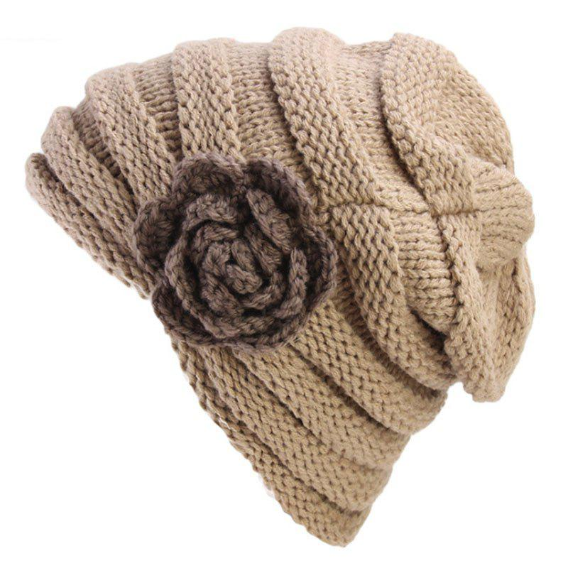 Online New Woman Fashion Handwork Floral Solid Casual Warm Winter Sweater Hat