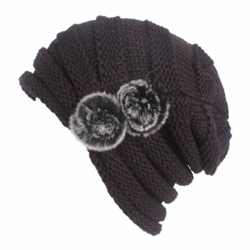 Shop New Woman Fashion Knit Solid Casual Sweater Hat