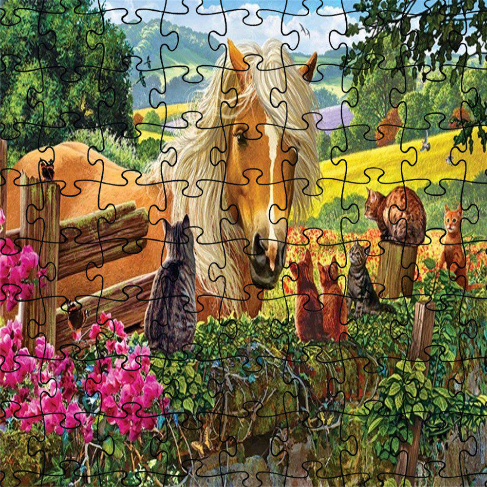 Chic Horse and Cat 3D Jigsaw Paper Puzzle Block Assembly Birthday Toy