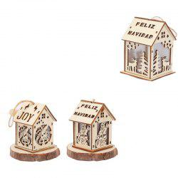 Christmas Glowing Cabin Snow House with Lights Colored Wooden Cottage Ornaments -