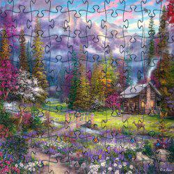 3D Jigsaw Paper Woods House Puzzle Block Assembly Birthday Toy -