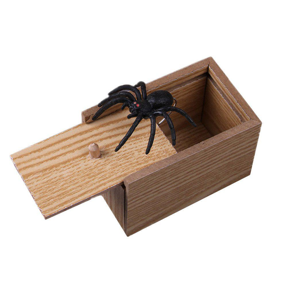 Jouets amusants Surprise Box Spider Bite dans un coffret en bois Pratique Funny Blague Prank Toy Noir