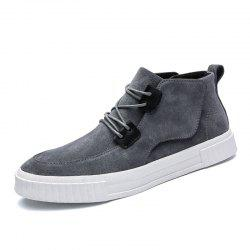 Cotton-Padded Leather Mid-Upper Casual Shoes -