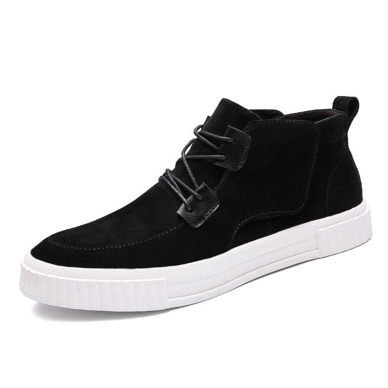 Buy Cotton-Padded Leather Mid-Upper Casual Shoes