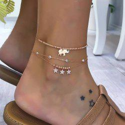 3 Pieces Alloy Elephant Pendant Beads Star Diamond Multi-layered Anklets -