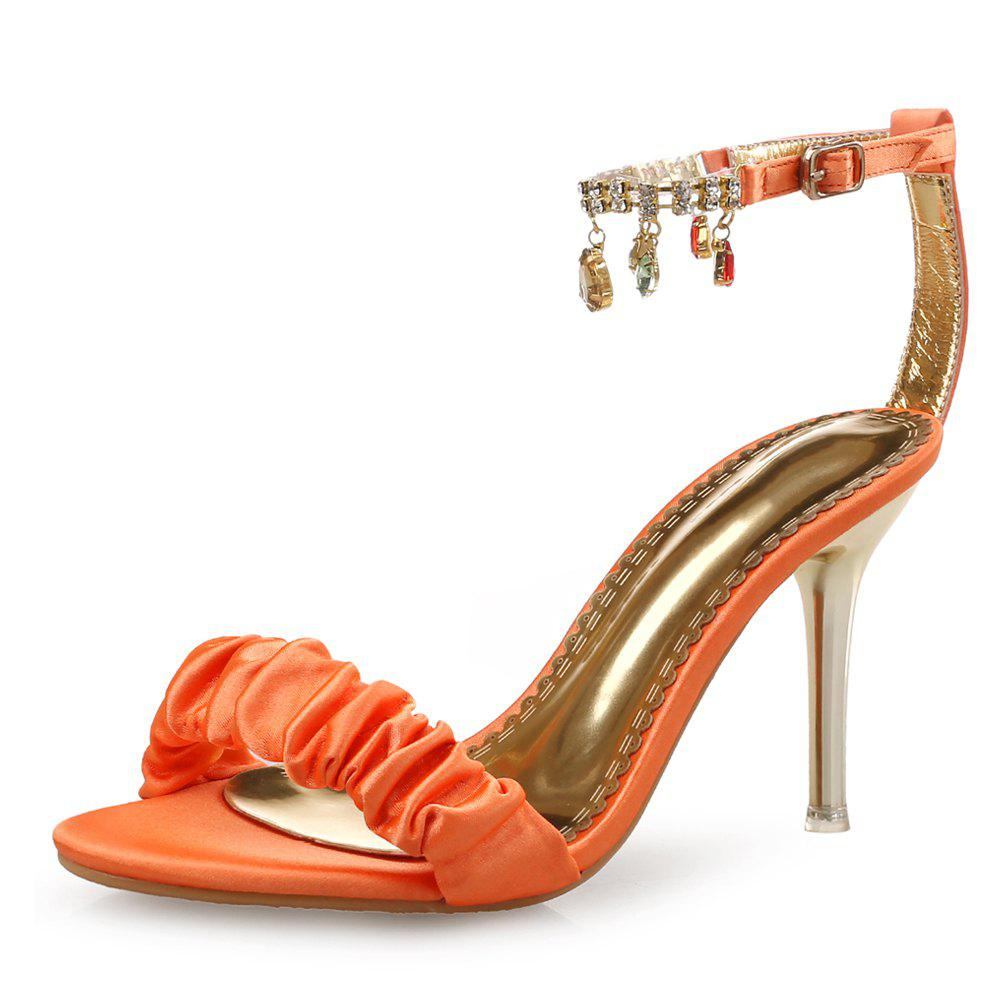Sandales à talons hauts One Word Buckle Strass Simplicity Small Fresh