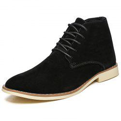 Men'S High-Top Shoes British Style Suede Lace Fashion Shoes -