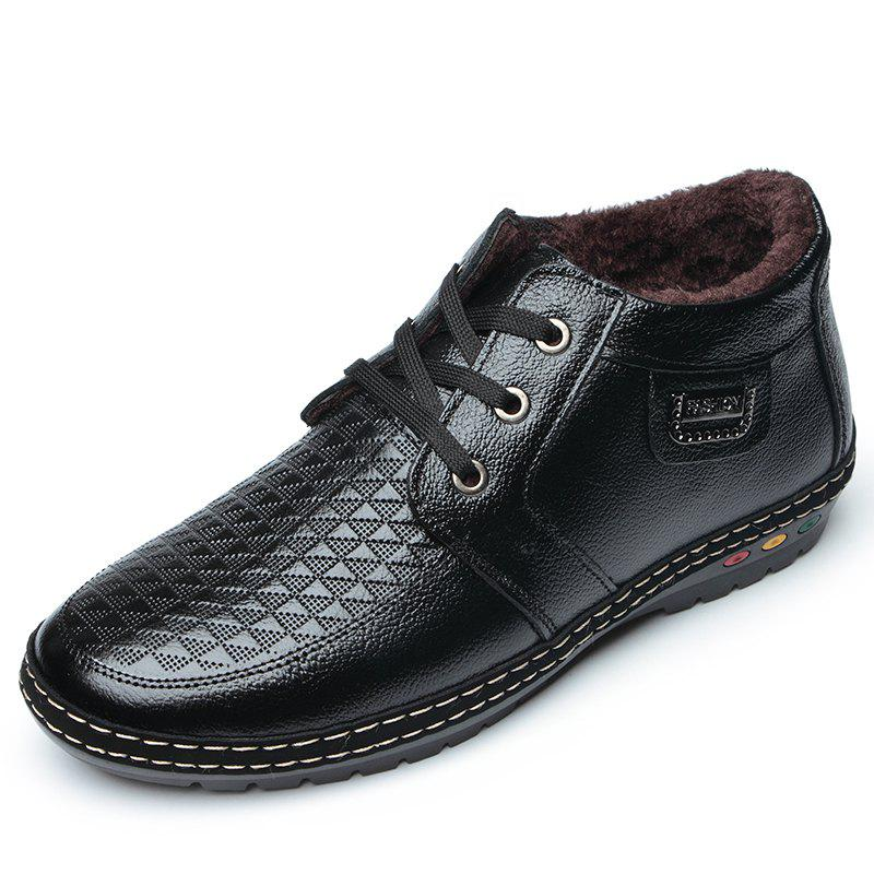 New Shoes Men Hiking Winter Leather Fur Rubber Lace Up Ankle Shoes