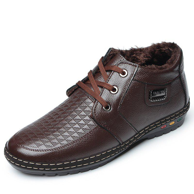 Store Shoes Men Hiking Winter Leather Fur Rubber Lace Up Ankle Shoes