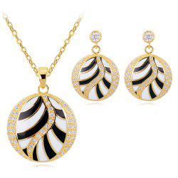 Premium Color Enamel Curve Necklace Earrings Set -