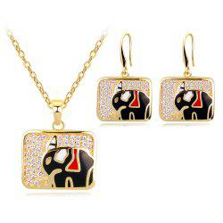 High-Grade Copper Set with Zirconium Color Enamel Small Elephant Jewelry Set -