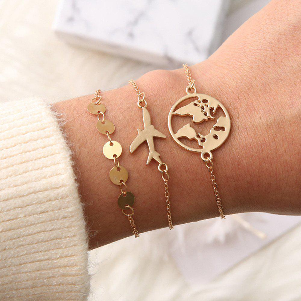 Bild von Fashion Personality New Fashion Ladies Bracelet Airplane Disc Map 3-PIECE Set
