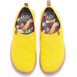 UIN Men's Shoes blue and yellow Painted Canvas Slip-On Travel Casual Shoes -