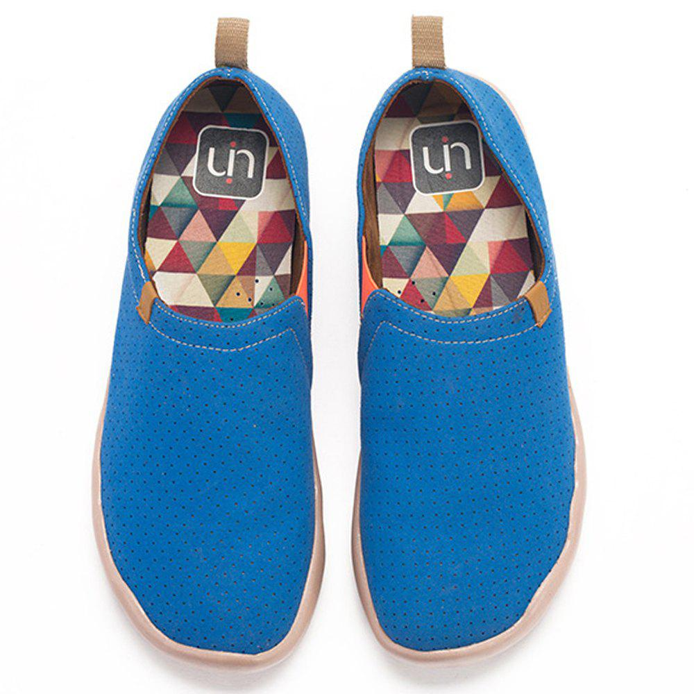 Discount UIN Men's Shoes blue and yellow Painted Canvas Slip-On Travel Casual Shoes