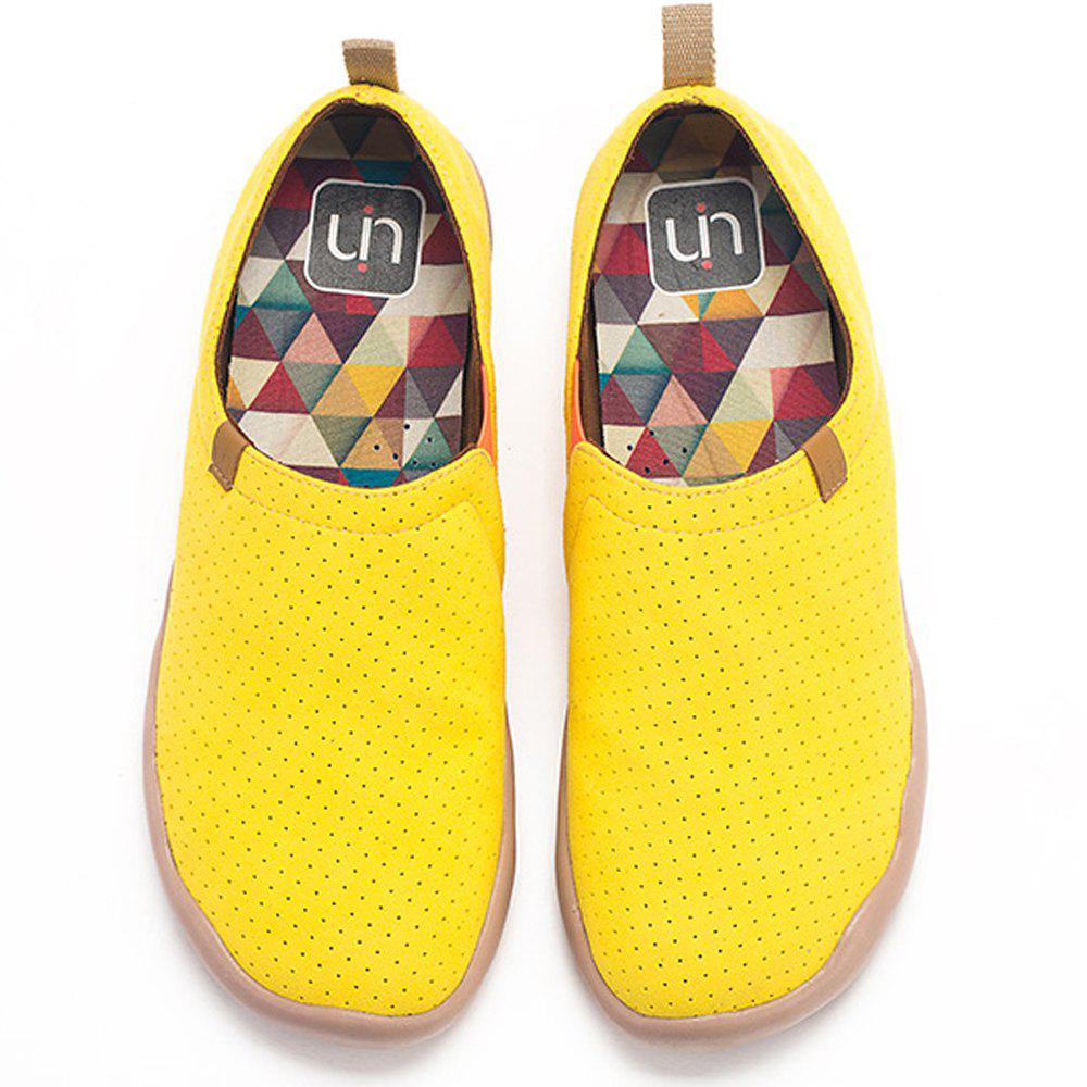 Shop UIN Men's Shoes blue and yellow Painted Canvas Slip-On Travel Casual Shoes