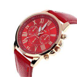 GENEVA Neutral PU Strap Casual Sports Quartz Watch -
