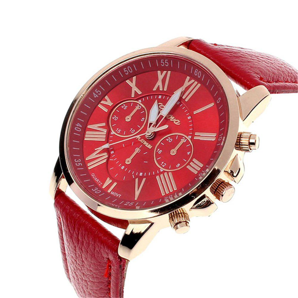 Cheap GENEVA Neutral PU Strap Casual Sports Quartz Watch