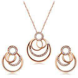 Fashion Rose Gold Plated Overlay with Zircon Necklace Earring Set -