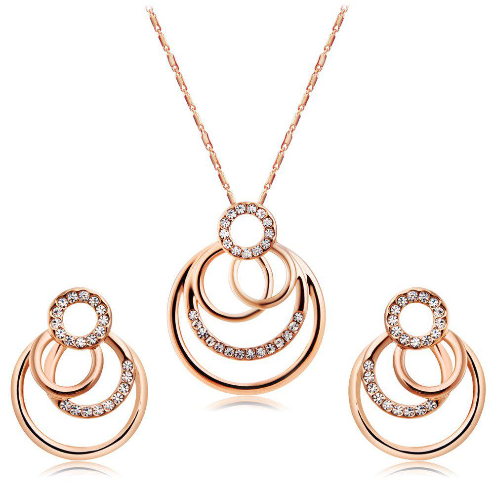 New Fashion Rose Gold Plated Overlay with Zircon Necklace Earring Set