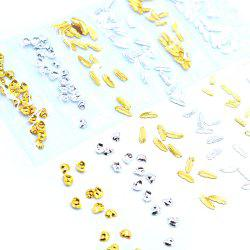 1 Pack Gold Silver Metal Rivet Mix Sea Shapes Conch Feather Nail Decors BBM110 -