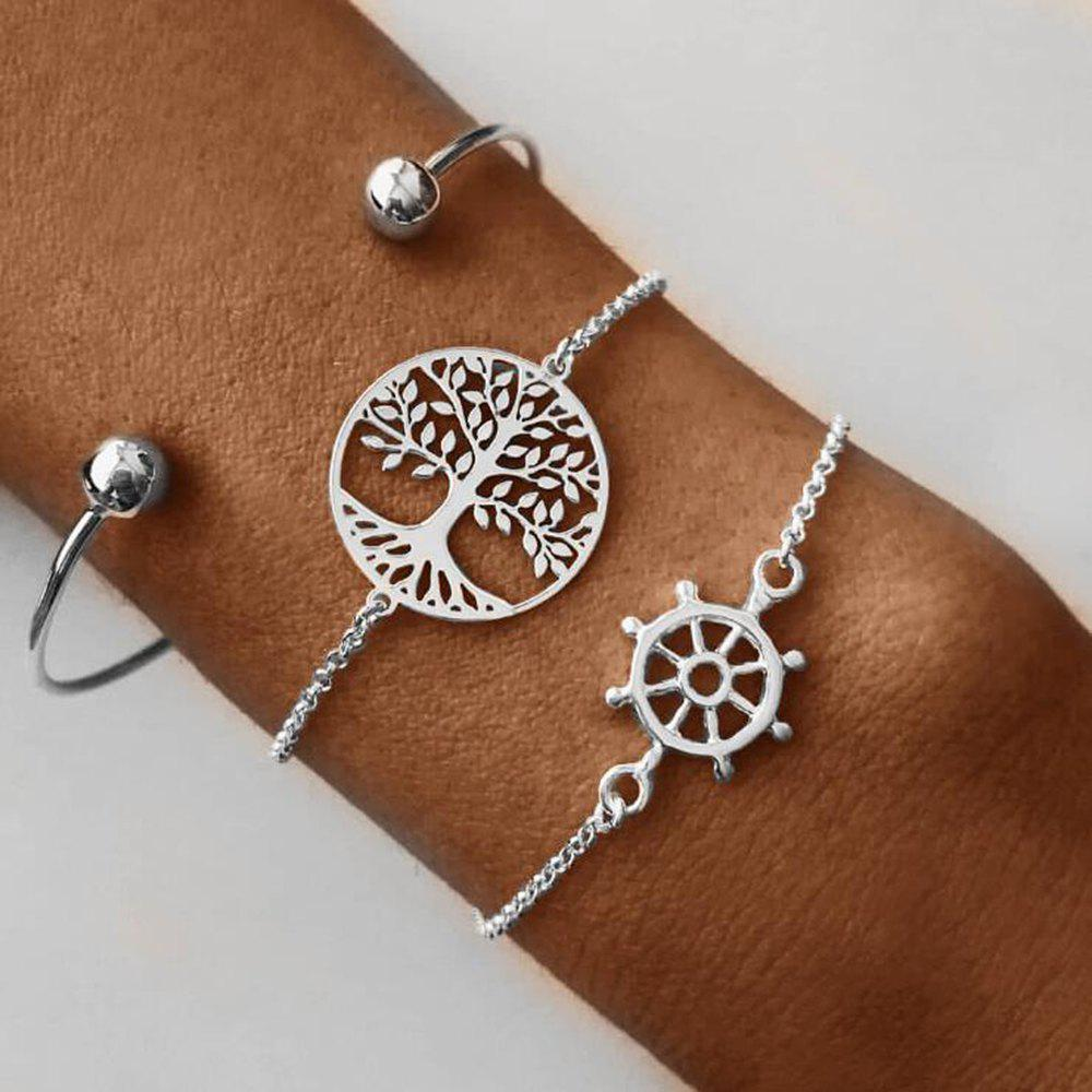 Fashion Women'S Fashion Open Bracelet Hollowed-Out Rudder Tree of Life Three-Piece S