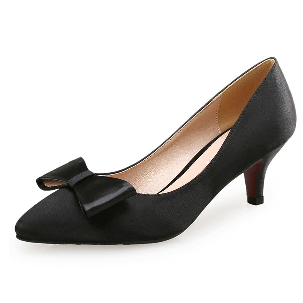 7189048297f 2019 Pointed Fine Heel Shallow Mouth Satin Women s Shoes