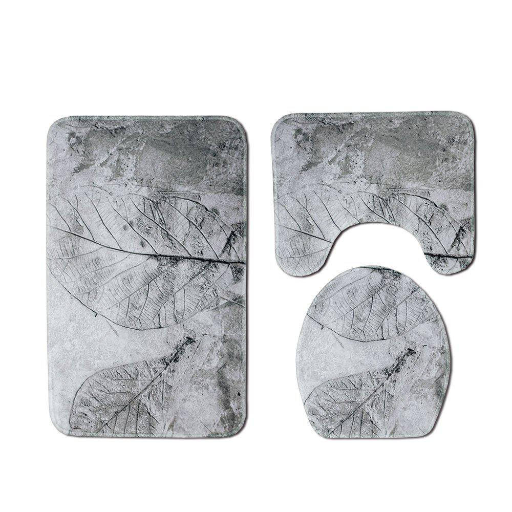 Buy Black and White Leaf Toilet Mat Three-Piece