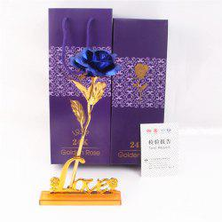 Day Gift 24K Gold Foil Artificial Rose Flower Valentine's Day Birthday Giftblue -