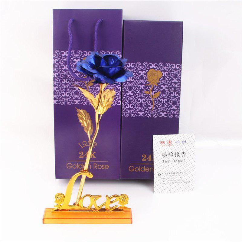 Shops Day Gift 24K Gold Foil Artificial Rose Flower Valentine's Day Birthday Giftblue