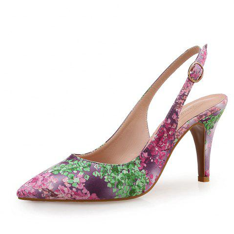 Pointed Floral Side Empty Women'S Singles Shoes one Word Buckle
