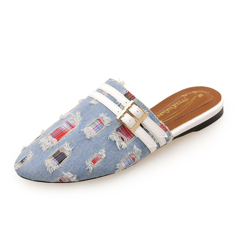 Store Baotou Denim Flat Leather Buckle Decorative Female Drag