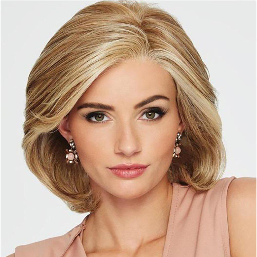 Fancy Stylish Intellectuali Lady Golden Straight Hair High Temperature Synthetic Wig