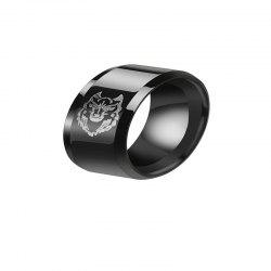 Leisure Style Men's Black Stainless Steel Wolf Ring -
