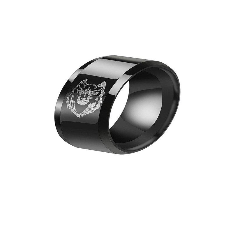 Cheap Leisure Style Men's Black Stainless Steel Wolf Ring