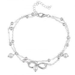 Beautiful Temperament Women's Pearl Eight-Character Foot Chain -
