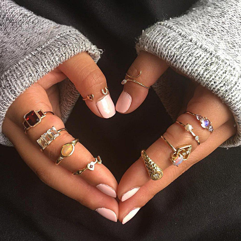 Latest 10 PCS/Set Geometry Rings Set Women Boho Unique Crystal Carving Knuckle Ring