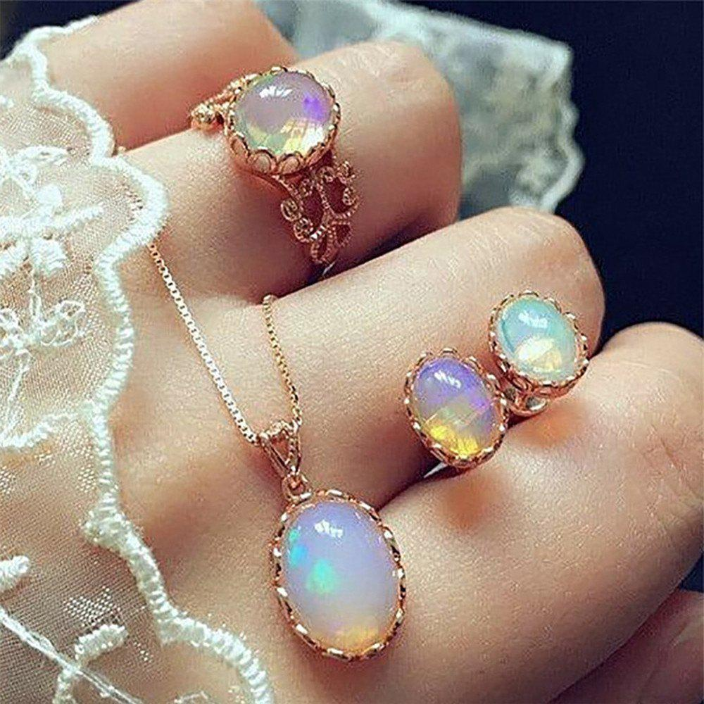 Fancy 3PCS Luxury Coloured Gemstone Pendant Necklace Earrings Ring Suit