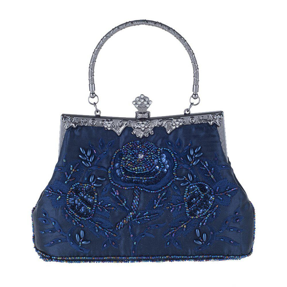 Latest Silken Face Embroidery Evening Bag Handbag Fashion Beaded Small Package