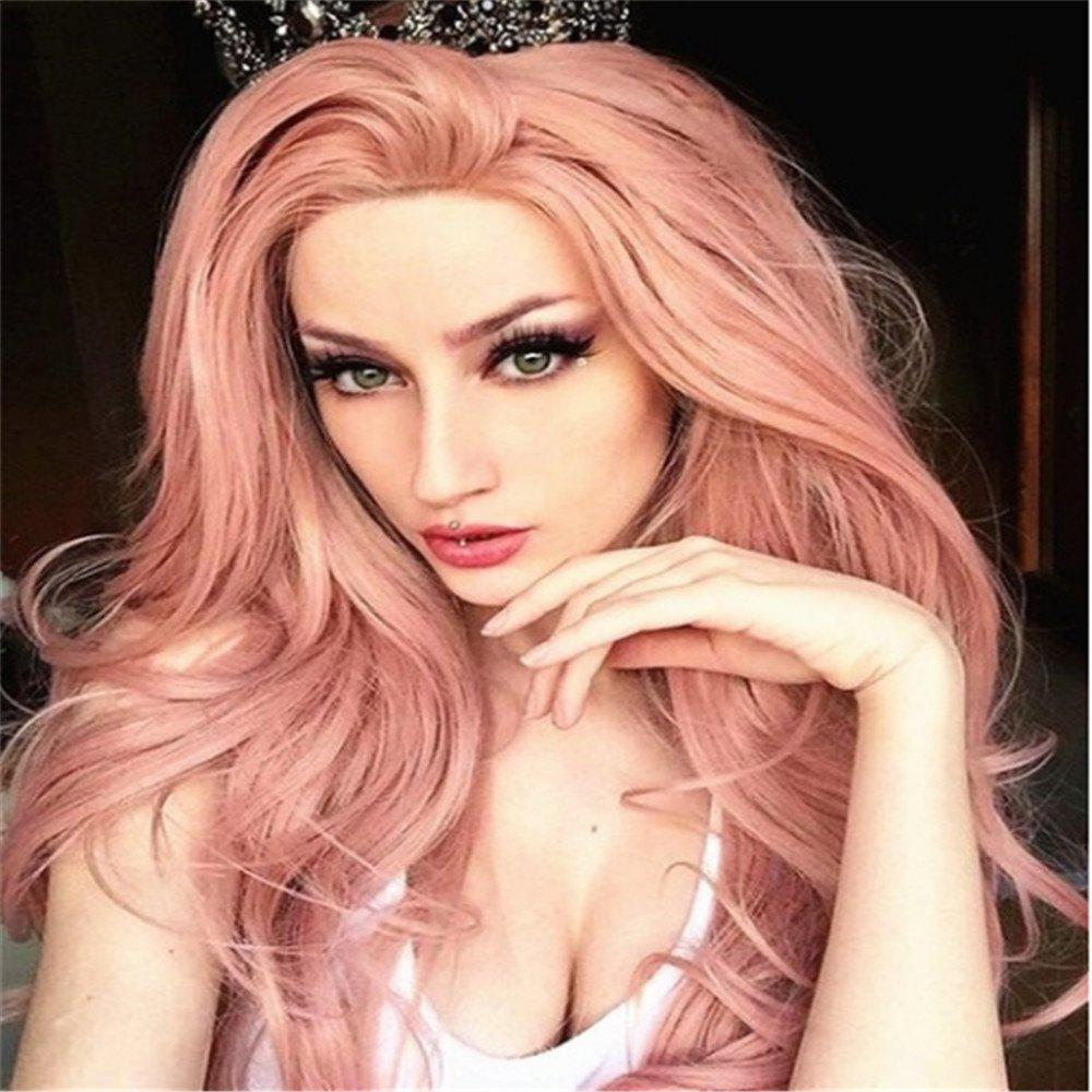 Outfits Pink Mid-Length Curly Wig Headgear