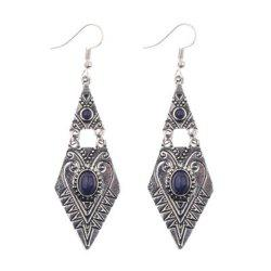 Ethnic Style Creative Geometric Diamond Shaped Gemstone Alloy Earrings -