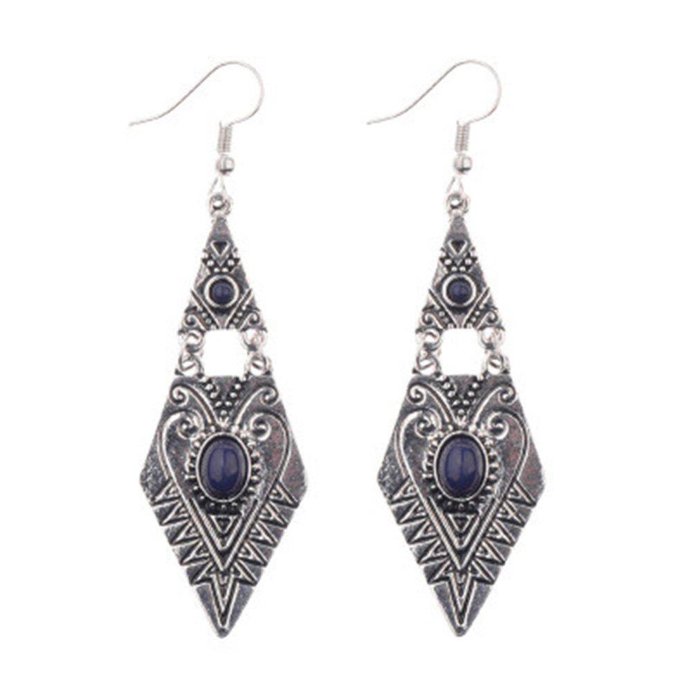 New Ethnic Style Creative Geometric Diamond Shaped Gemstone Alloy Earrings
