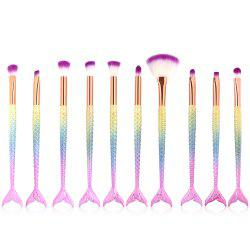 10 Mermaid Eye Makeup Brushes Colorful Fishtail Beauty Makeup Tools -