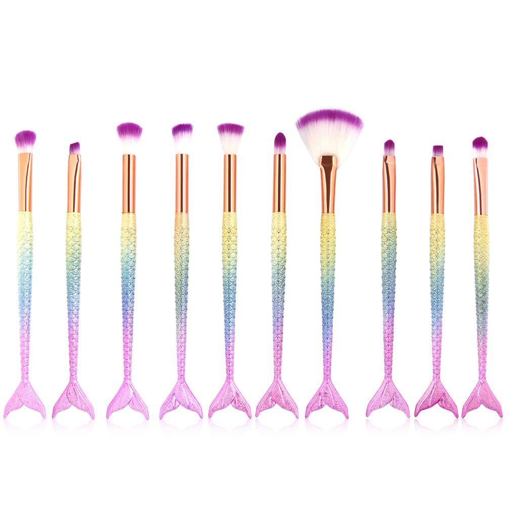 Latest 10 Mermaid Eye Makeup Brushes Colorful Fishtail Beauty Makeup Tools