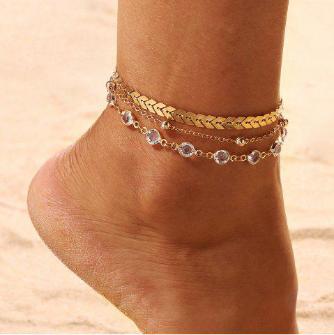 3PCS/SET Gold Color Crystal Star Female Foot Jewelry New Ankle Bracelets Women