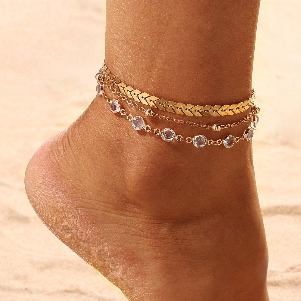 Latest 3PCS/SET Gold Color Crystal Star Female Foot Jewelry New Ankle Bracelets Women