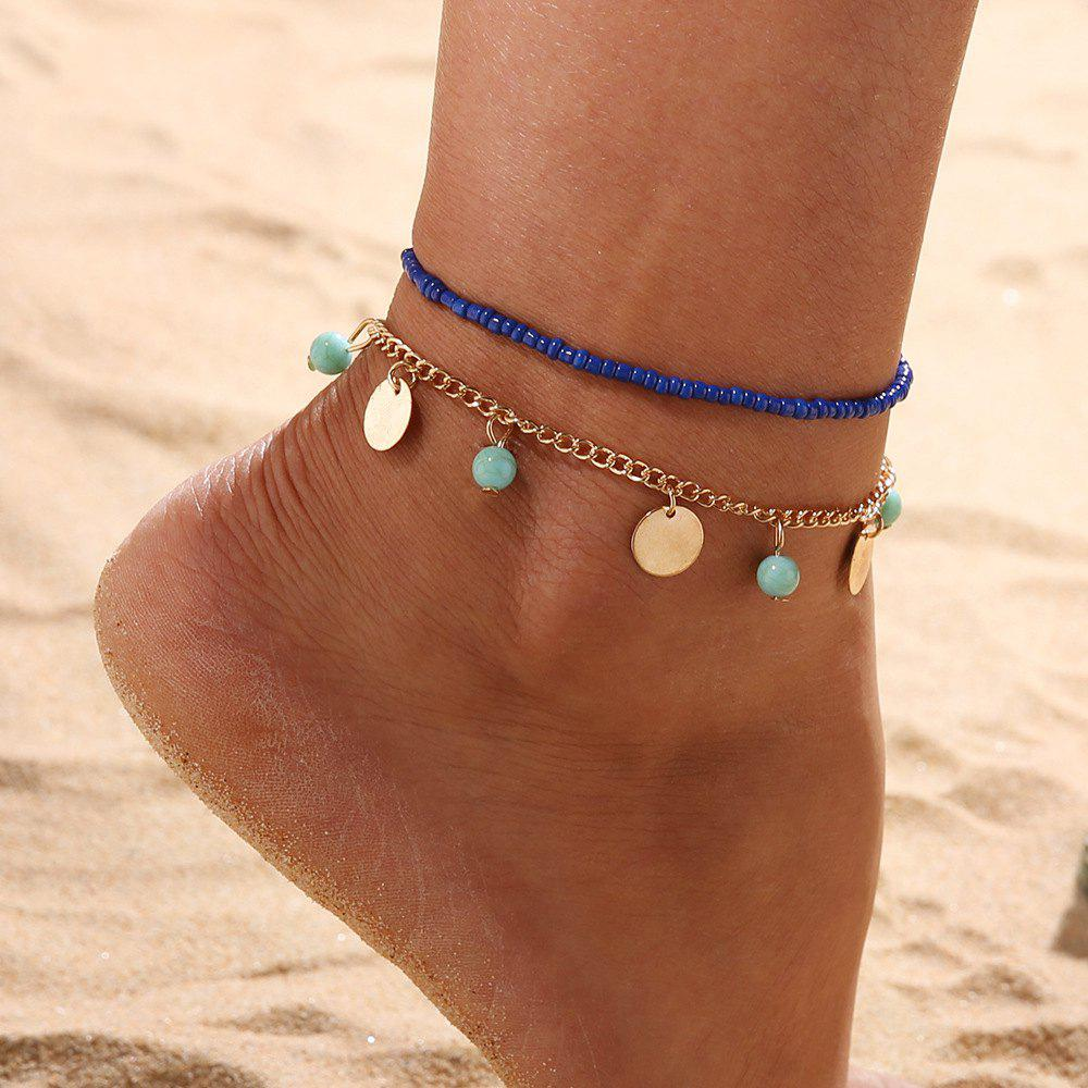 Cheap 2 PCS/SetBohemian Blue Turquoise Beaded Round Beaded Combination Anklet Bracelet