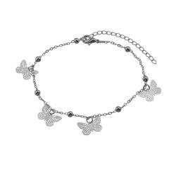 Silver Color Hollow Out Butterfly Anklet -
