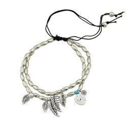 Silver Color Multi Layers Beads Chain With Leaf Anklet -