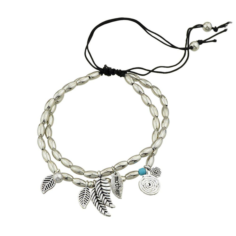 Discount Silver Color Multi Layers Beads Chain With Leaf Anklet