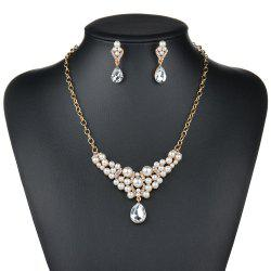 Fashion Exaggerated Luxury Drop Pendant Necklace Earrings Jewelry Set -